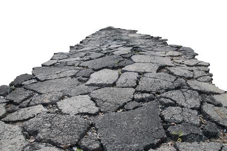 Foto de asphalt road with cracks, isolated on white background. - Imagen libre de derechos