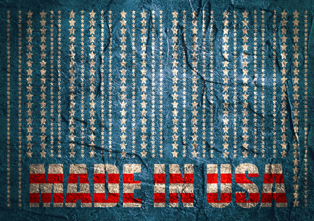 Made in USA in bar code. Lines consist of stars. Concrete wall textured background
