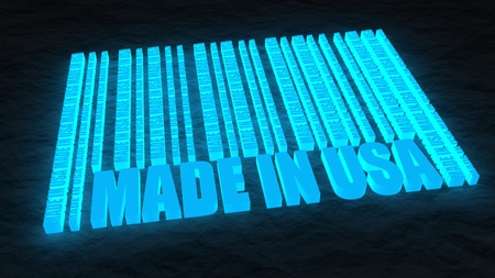 Made in USA in bar code. Lines consist of same words. Neon glowing