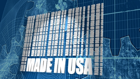 Made in USA  in bar code. Lines consist of same words Blueprint backdrop. Image relative to United State of America retail