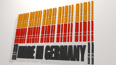 Made in Germany  in bar code. Lines consist of same words Blueprint backdrop. Image relative to Germany retail. National flag color letters
