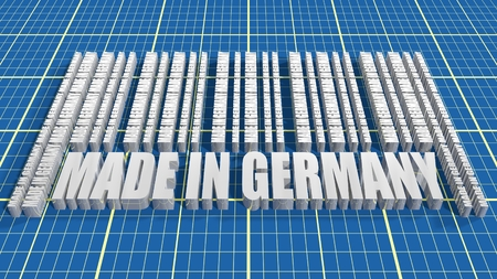 Made in Germany  in bar code. Lines consist of same words Blueprint backdrop. Image relative to Germany retail
