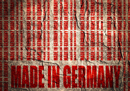 Made in Germany  in bar code. Lines consist of same words Blueprint backdrop. Image relative to Germany retail. Grunge textured