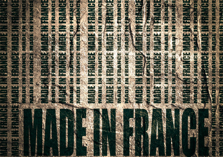 Made in France  in bar code. Lines consist of same words Blueprint backdrop. Image relative to France retail. Grunge textured wall