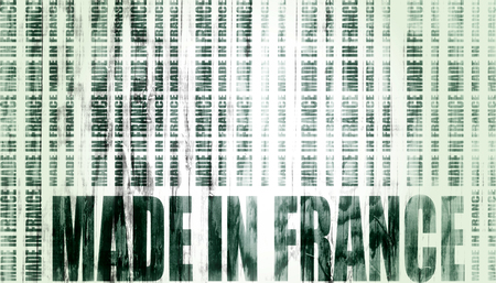 Made in France  in bar code. Lines consist of same words Blueprint backdrop. Image relative to France retail. Wood textured wall