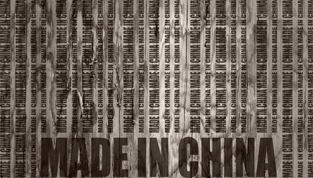 Made in China  in bar code. Lines consist of same words. Concrete textured backdrop
