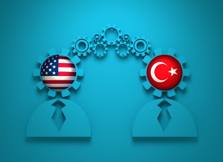 Image relative to politic and economic relationship between USA and Turkey. National flags in gears head of the businesman. Teamwork concept