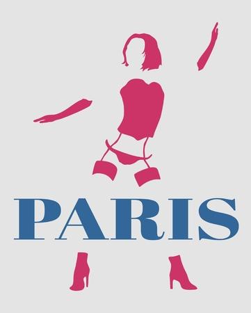 Sexy woman silhouette, underwear fashion. Woman underwear. Paris text