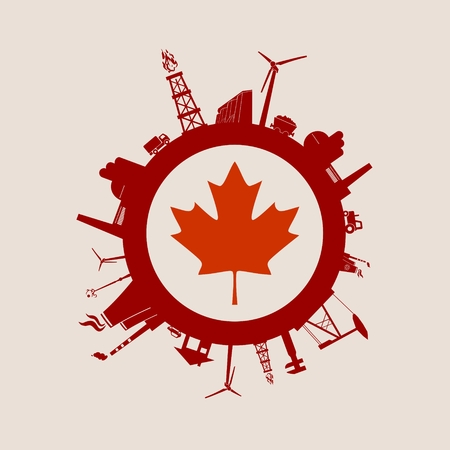 Illustration pour Circle with industry relative silhouettes. Vector illustration. Objects located around the circle. Industrial design background. Canada flag in the center. - image libre de droit