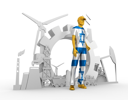 Young man wearing apron textured by Israel flag. Bearded worker at industrial isometric icons set. 3D rendering. Metallic material. Energy generation and heavy industry.