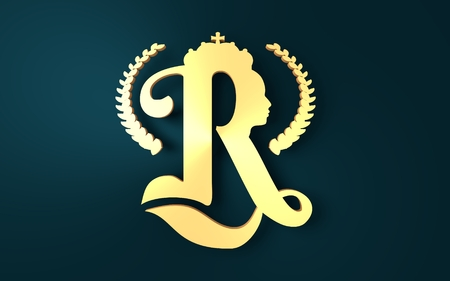 Royal crown logo. Business golden emblem with R letter and face silhouette. 3D rendering