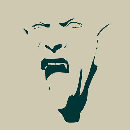 Illustration pour Fantasy head of orc with open mouth. Evil and ugly - image libre de droit