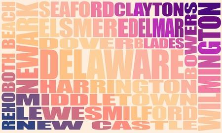 Illustration pour Image relative to usa travel. Delaware state cities list - image libre de droit