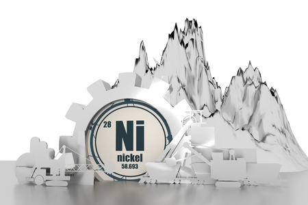 Photo pour Gear with energy relative silhouettes. Design set of coal mining industry. Nickel chemical element. 3D rendering - image libre de droit