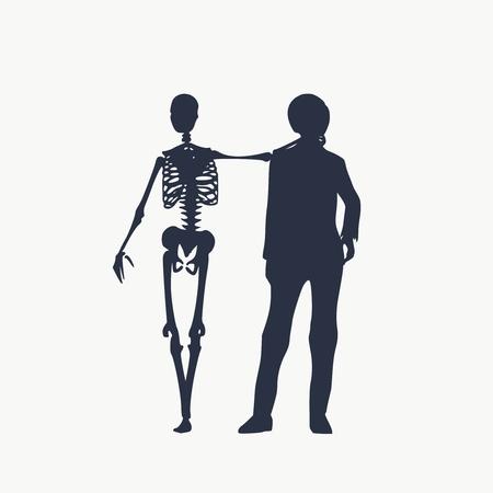Illustration pour Woman and skeleton standing and hugging. Halloween party design template. Friends embrace - image libre de droit