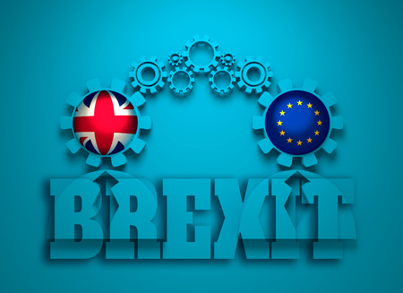 Image relative to politic and economic relationship between United Kingdom and European Union. National flags in gears head of the businessman. Teamwork concept