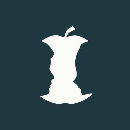 Illustration pour An apple or two face profile view. Optical illusion. Human head make silhouette of fruit - image libre de droit
