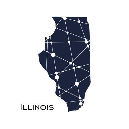 Image relative to USA travel. Illinois state map textured by lines and dots pattern