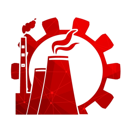 Illustration pour Gear and atomic power station icon textured by lines with dots.. Industrial relative set - image libre de droit