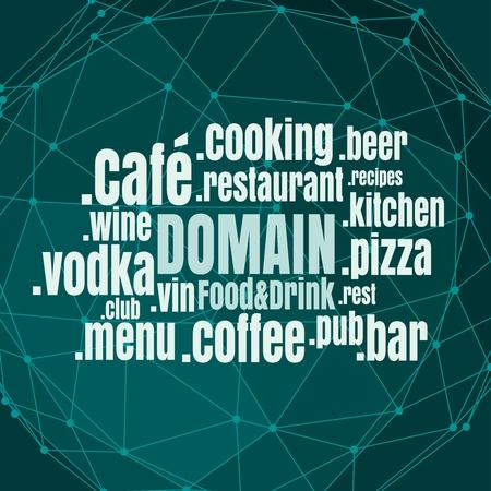 Illustration pour Domain names words cloud relative to food and drink theme. Internet and web telecommunication concept - image libre de droit