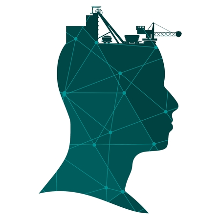 Illustration pour Head with coal mining icons. Heavy industry and energy. Textured by connected lines with dots.. - image libre de droit