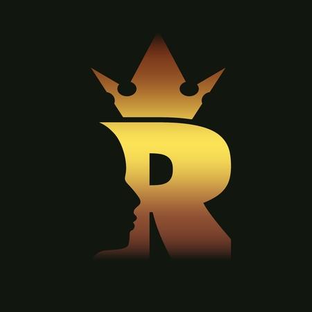 Illustration pour Royal luxury emblem with R letter silhouette. Prince head silhouette with crown. Medieval king profile. Business fantasy badge - image libre de droit