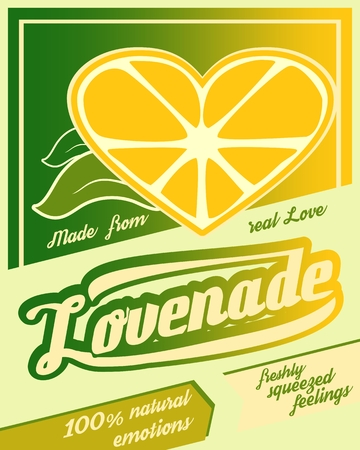 Illustration for Colorful vintage Lemonade label poster vector illustration. New brand name Lovenade. Unusual love drink. Squeezed from feelings and 100 percent natural emotions text. Made from real love tag line - Royalty Free Image