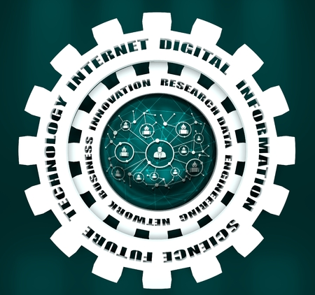 Photo pour Technology relative words on the mechanism of gears. Concept in industrial design. 3D rendering. Connected symbols for digital, interactive and global communication concept. Human and robot teamwork - image libre de droit