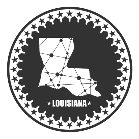 Image relative to USA travel. Louisiana state map textured by lines and dots pattern. Stamp in the shape of a circle