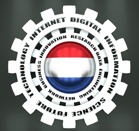 Photo pour Technology relative words on the mechanism of gears. Concept in industrial design. Flag of Netherlands. 3D rendering - image libre de droit