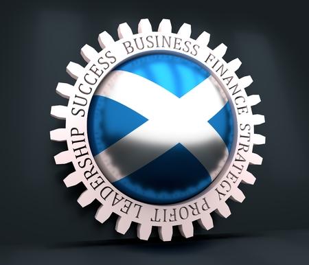 Photo pour Cog wheel with Scotland flag. Precision machinery relative backdrop. 3D rendering - image libre de droit