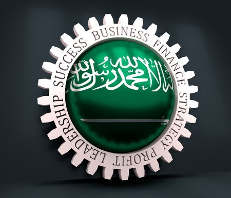 Photo pour Cog wheel with Saudi Arabia flag. Precision machinery relative backdrop. 3D rendering - image libre de droit
