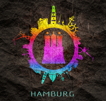 Photo pour Template with sea shipping and travel relative silhouettes. Hamburg city name text and element from coat of arms - image libre de droit