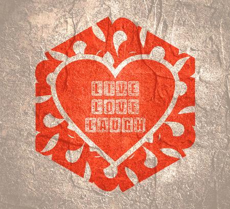 Foto de Motivation text lettering of an inspirational saying. Calligraphy postcard or poster graphic design. Romantic Valentines day lettering. Live Laugh Love Greeting Card Template - Imagen libre de derechos