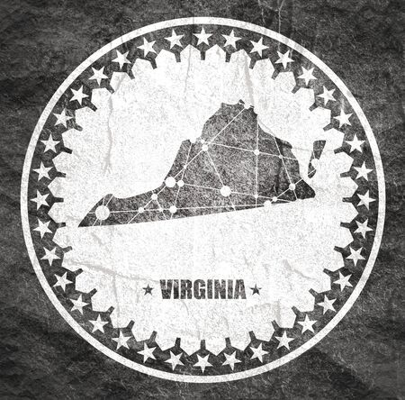Photo pour Image relative to USA travel. Virginia state map textured by lines and dots pattern. Stamp in the shape of a circle - image libre de droit