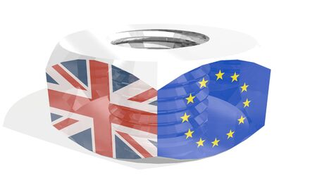 Photo pour Business communication concept in industrial design. European Union and United Kingdom business cooperation. National flags on silver metal nut. 3D rendering - image libre de droit