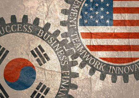 Photo pour Partnership concept. USA and South Korea association. Gears textured by flag. Business relative words on the mechanism of gears. Communication concept in industrial design. - image libre de droit