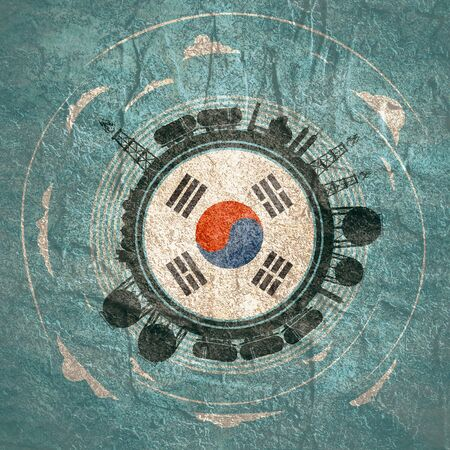 Photo pour Circle with energy relative silhouettes. Objects located around circle. Flag of the South Korea in the center of circle. Modern brochure, report or leaflet design template. - image libre de droit