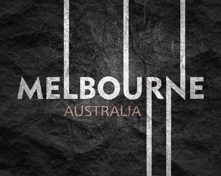 Photo pour Image relative to Australia travel theme. Melbourne city name in geometry style design. Creative vintage typography poster concept. - image libre de droit