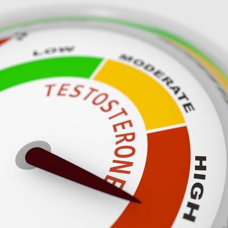 Photo pour Hormone testosterone level measuring scale. Health care concept illustration. 3D rendering - image libre de droit