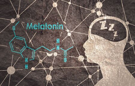 Photo pour Melatonin hormone chemical molecular formula. Circadian rhythm synchronization. Stylized conventional skeletal formula. Connected lines with dots background. Silhouette of a man head - image libre de droit