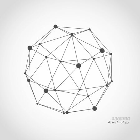 Illustration pour Platonic solid design. Connected lines with dots. Medical, technology, chemistry and science icon design - image libre de droit
