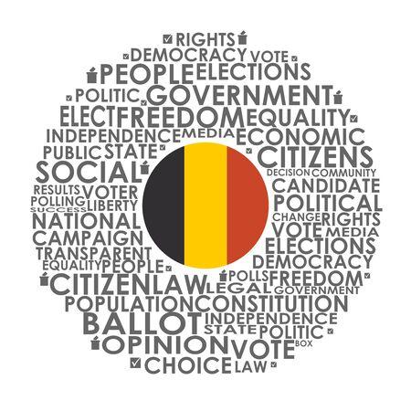 Illustration pour Words cloud relative for voting. Circle frame. Flag of the Belgium - image libre de droit