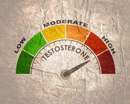 Photo pour Hormone testosterone level measuring scale. Health care concept illustration. - image libre de droit