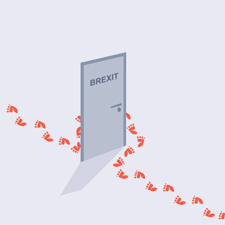 Illustration pour Image relative to politic situation between great britain and european union. Politic process named as brexit. Human footprints bypass the door with the inscription Brexit text - image libre de droit
