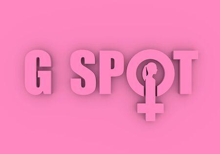 Photo pour Metaphor of exploring female sexuality. Spot-g erogenous zone emblem. Female sign icon. Silhouette of woman head. 3D rendering - image libre de droit