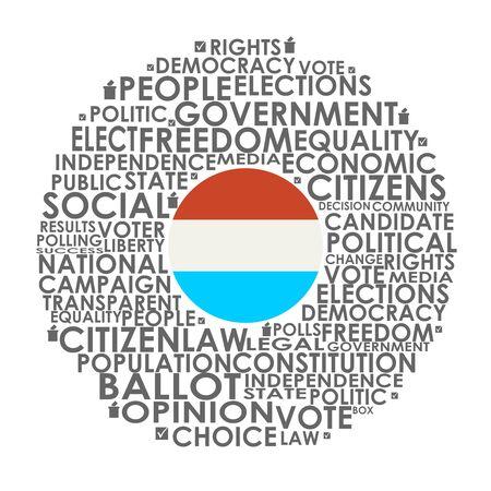 Illustration pour Words cloud relative for voting. Circle frame. Flag of the Luxembourg - image libre de droit