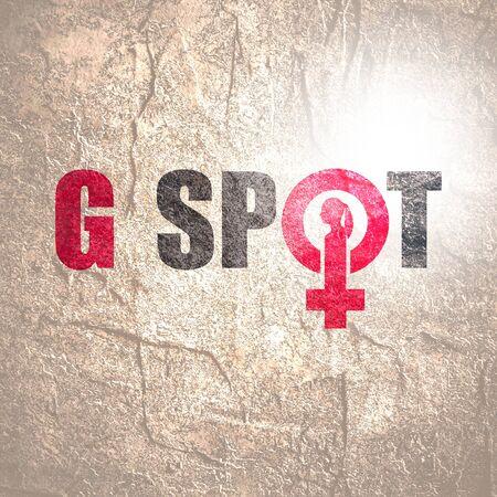 Photo pour Metaphor of exploring female sexuality. Spot-g erogenous zone emblem. Female sign icon. Silhouette of woman head - image libre de droit