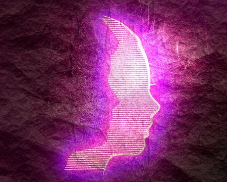 Photo pour Happy valentines day and wedding design concept. Side view. Woman as a shadow of a man. Stone surface texture. Neon shine - image libre de droit