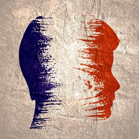Photo pour Double exposure portrait of young man. France flag design concept. Flag textured by grungy wood pattern. Image relative to travel and politic themes - image libre de droit